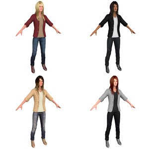 pack casual woman 3D