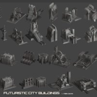 3D futuristic building cities