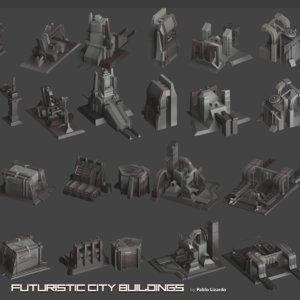 3D futuristic building cities