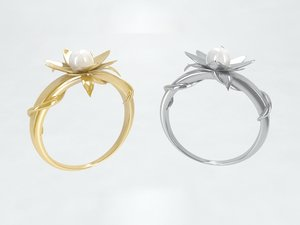 ring gold silver pearl 3D model