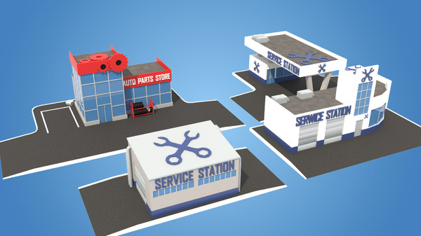 cartoon pack service stations 3D model
