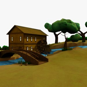 cartoon cottage scene 2 3D