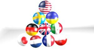 3D balls flags