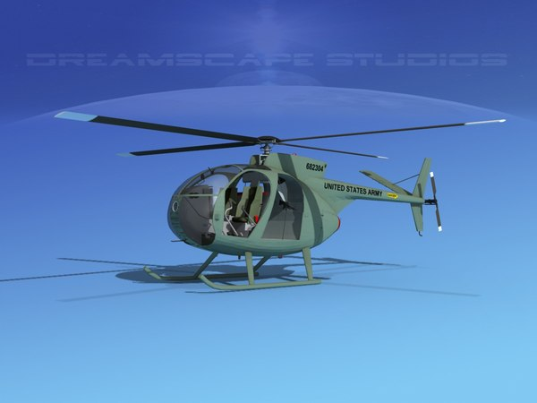 3D rotors hughes oh-6 cayuse model
