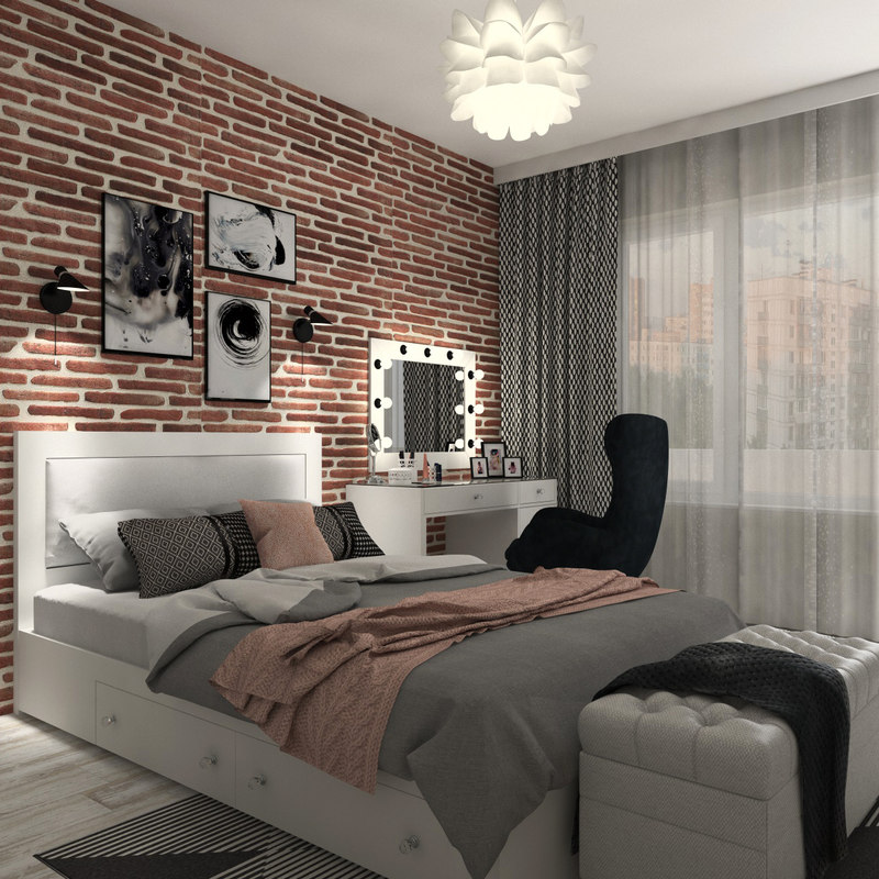 . Modern Teen Bedroom Interior Scene