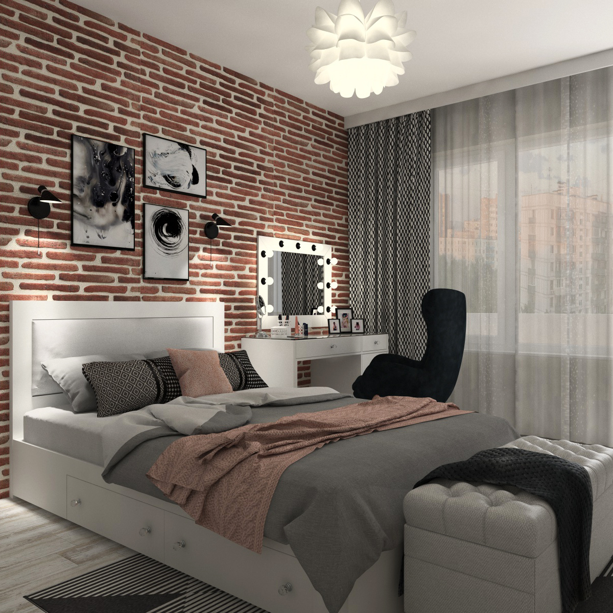 Modern Teen Bedroom Interior Scene