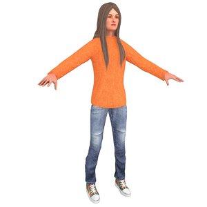 3D casual woman model