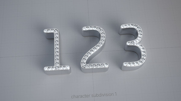 numbers diamonds 3D model