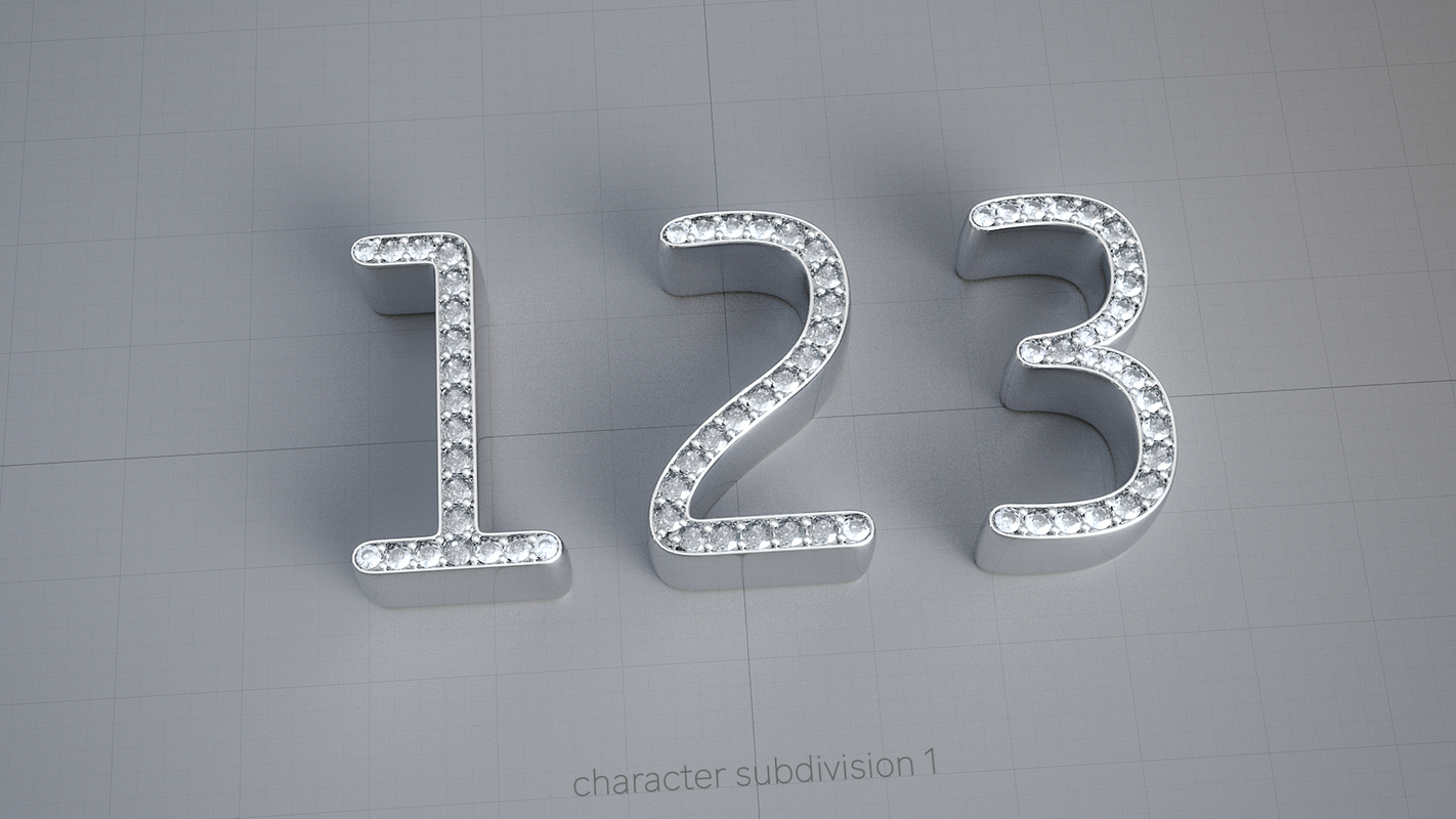 numbers diamonds 3D model