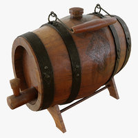 3D vintage desktop wooden barrel