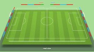 3D model football soccer field markup