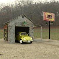 gas station daz studio 3D model