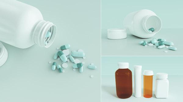 3D medication pills capsules bottles