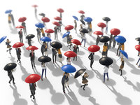 3D people holding umbrella model