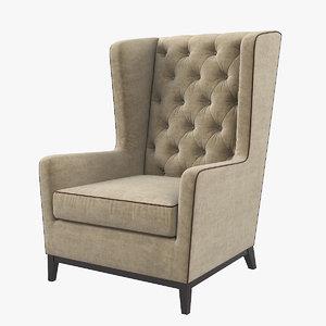 3D asnaghi aurora lounge armchair