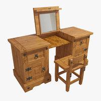 desk table chair wood 3D model
