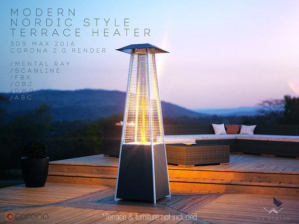 modern nordic terrace heater 3D