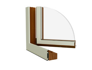 section wooden window triple 3D model