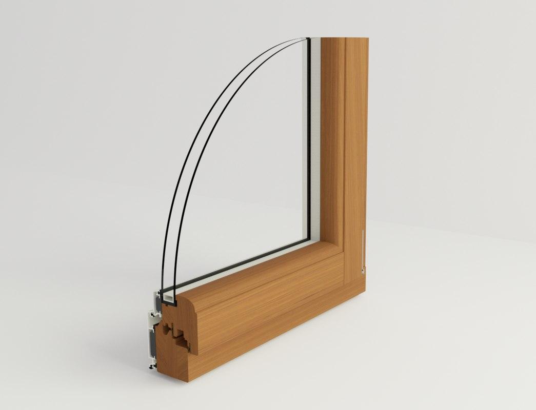 3D section wooden window glass model