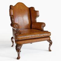 georgian scrolled wing chair 3D model