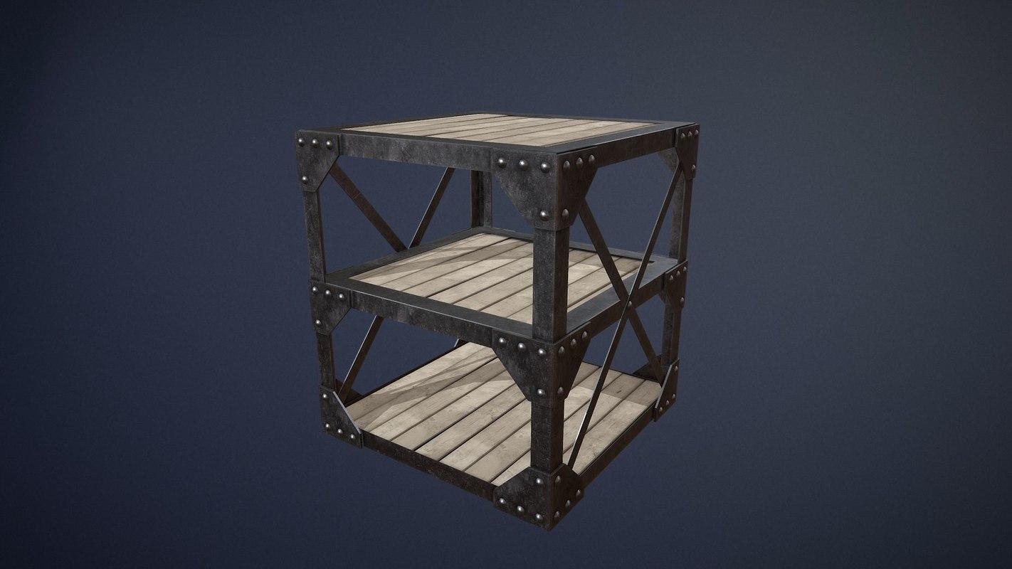 old industrial table asset 3D model