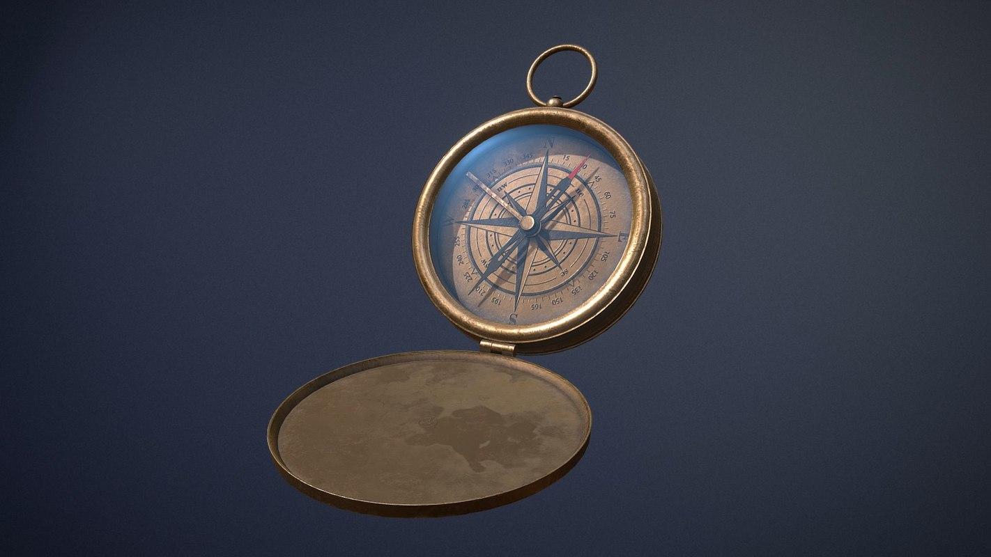 3D old compass asset