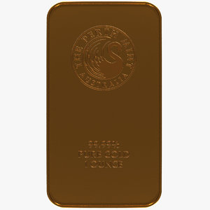 perth mint kangaroo gold bar 3D model