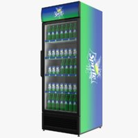 Filled Sprite Single Door Display Refrigerator 3D model