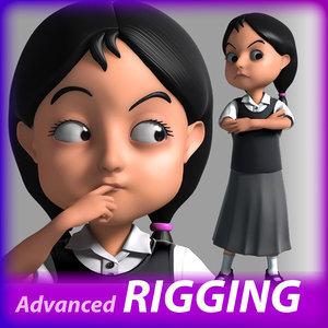 cartoon little girl 3D model