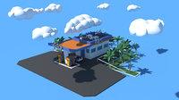cartoon gas oil station 3D