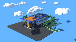 cartoon gas oil station 3D