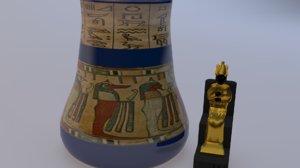 3D osiris statue vase figurine