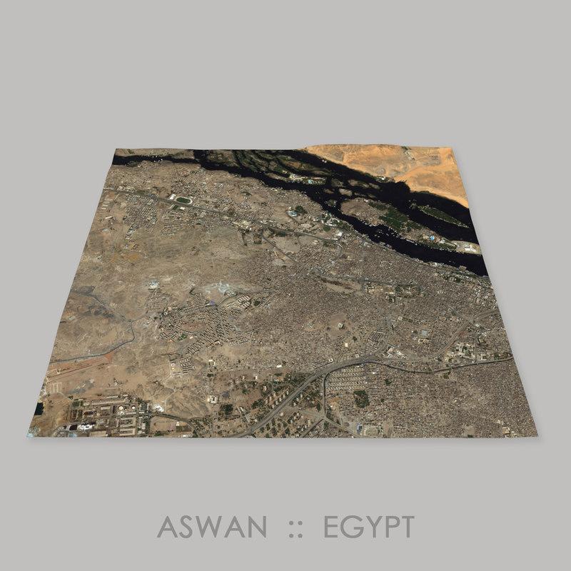3D aswan quarry terrain megalithic