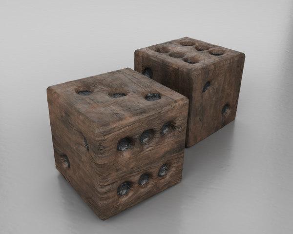 wood dice 3D
