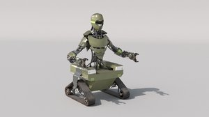 3D model army robot rig