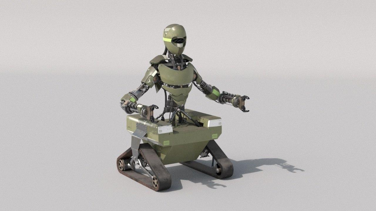 3D model army robot rig