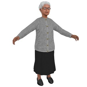 3D old woman model