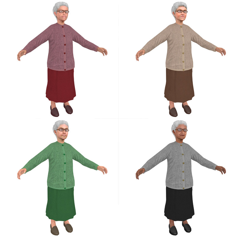 pack old woman 3D