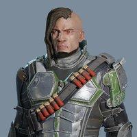 sci-fi assault hero 3D model