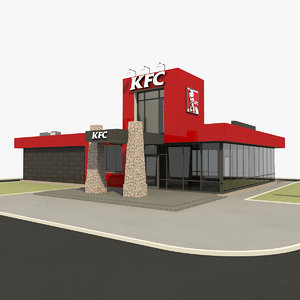 3D kfc modern restaurant drive model