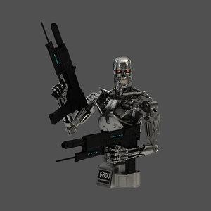 3D terminator t-800 endoskeleton bust model