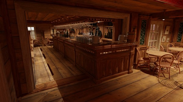 3D model stylized saloon set