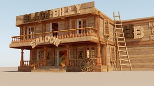3D model stylized saloon set