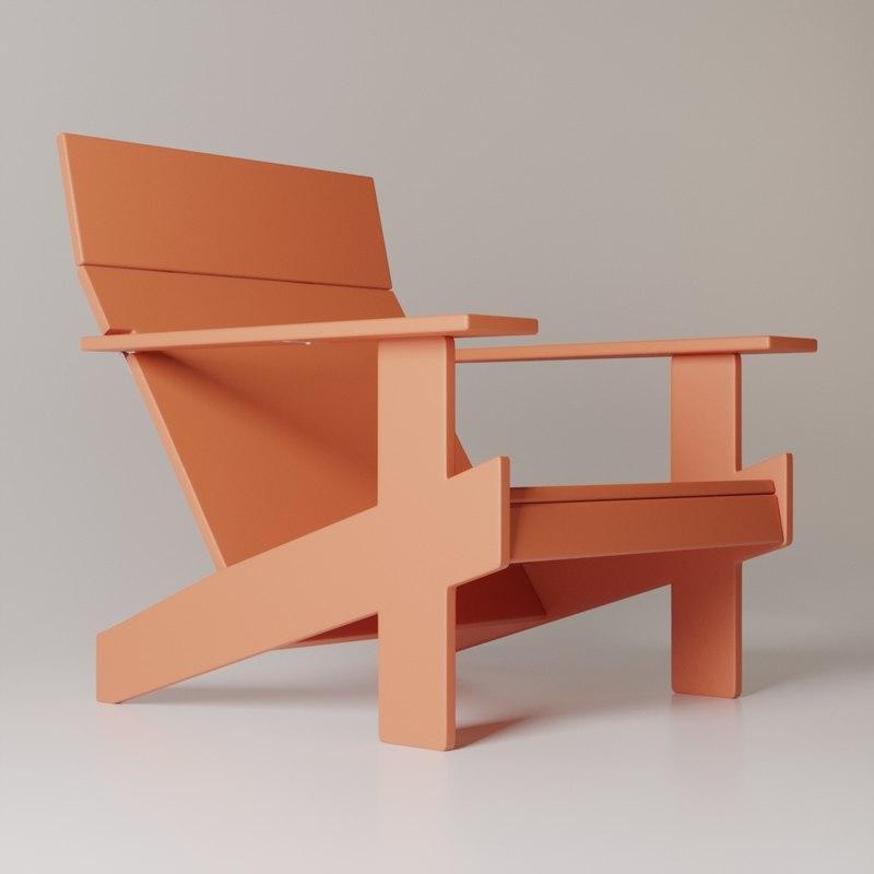 3D chair lollygagger lounge model