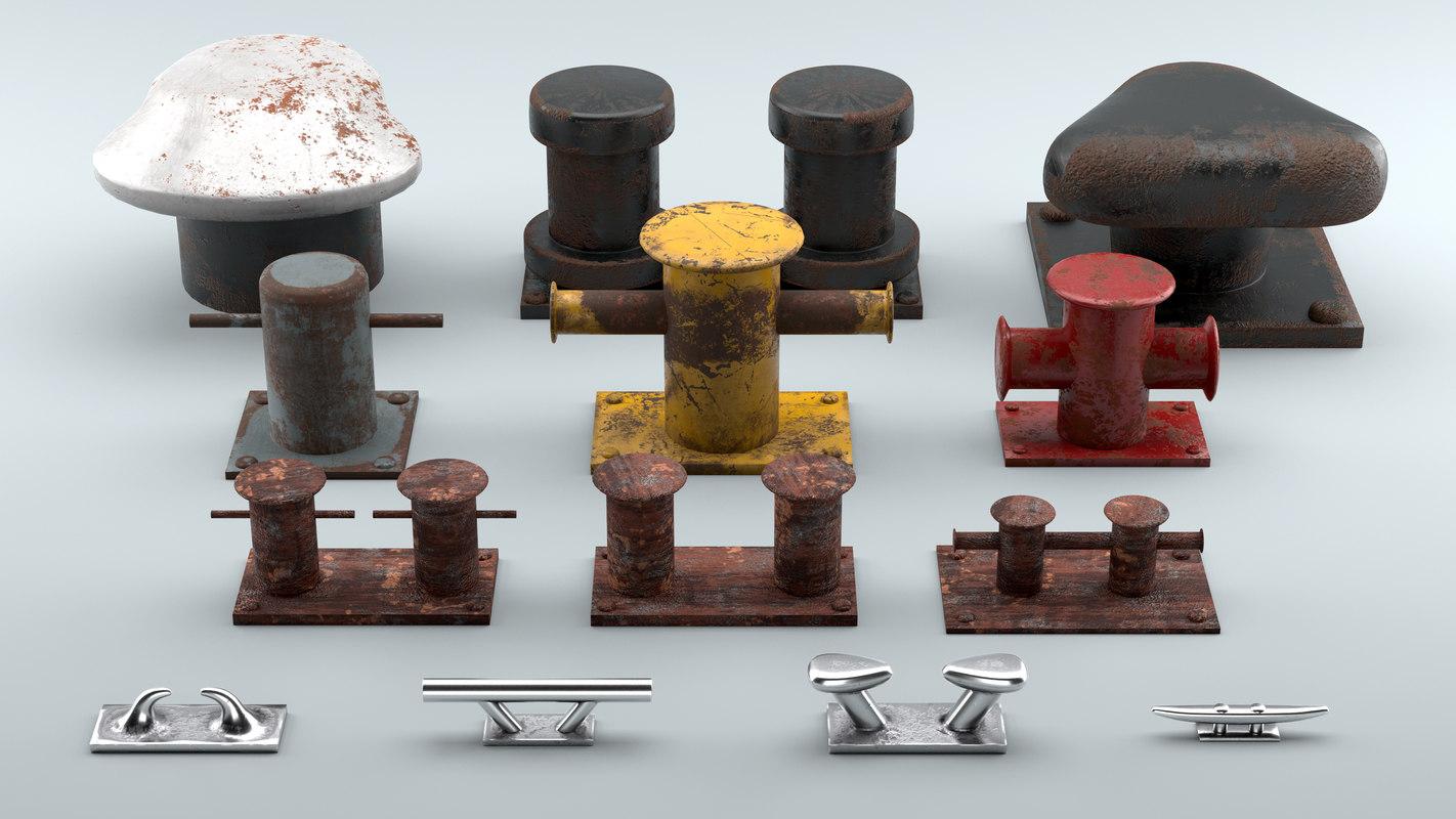 used sea bollards ship 3D model