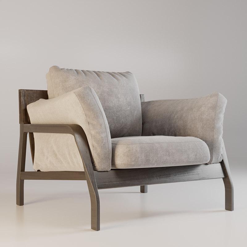 3D armchair cassina chair model