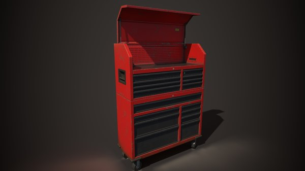 3D red cupboard tools model