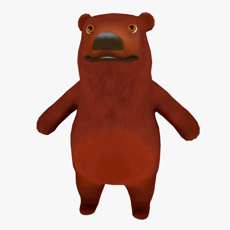 cartoon bear ar animation model