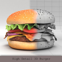 3D model burger hamburger beef
