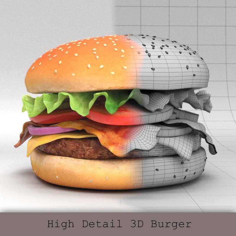 3D model burger hamburger beef